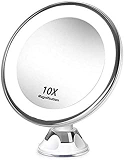 Makeup Mirror 10X Vanity Mirror Portable with LED Light 360° Rotating Magnifying Glass Home Desktop Bathroom with Strong Suction Cup