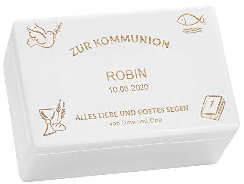 LAUBLUST Holzkiste zur Kommunion - Kirchen Symbole - Geschenkkiste Personalisiert mit Gravur - ca. 30x20x14cm, Weiß, FSC®