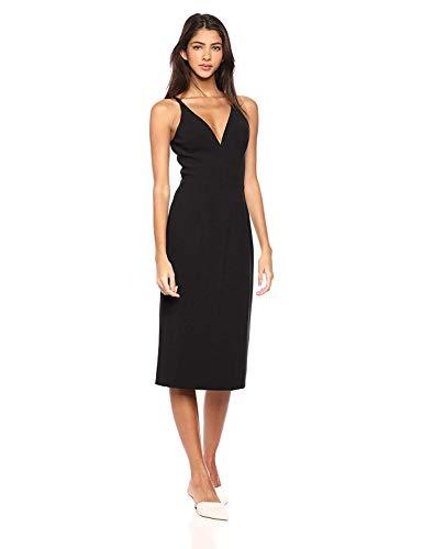 Dress the Population Women's Lyla Plunging Sleeveless Fitted Midi Sheath Dress, Black, M (Apparel)
