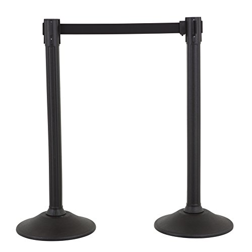 US Weight - U2000 Sentry Stanchion with 6.5 Foot Retractable Belt – Easy Connect Assembly (2-Pack), Black
