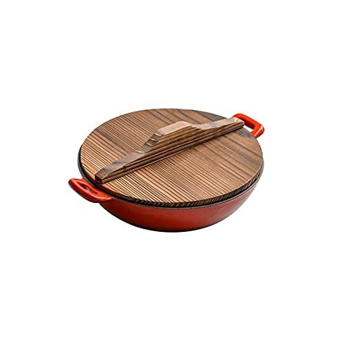 Lazxcnvbg sarten Wok, Plancha de Hierro Fundido Wok Antiguo, sin Recubrimiento Pan Pan doméstico Doble oído pequeño Wok, Familia Adecuada para Comer Cena (24 cm)