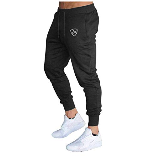 Royal King Mens Cotton Gym Training Fitness Sweatpants Tie-up Pants Joggers (Medium) Black