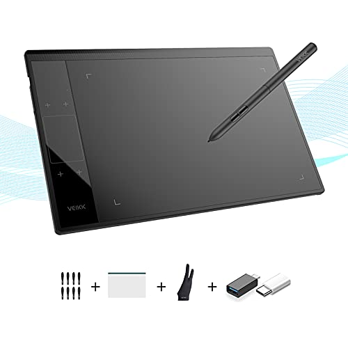 VEIKK A30 V2 Drawing Tablet 10x6 Inch Graphics Tablet with Battery-free pen and 8192 Professional Levels Pressure (unique Touch pad design with 4 touch keys and one gesture pad)