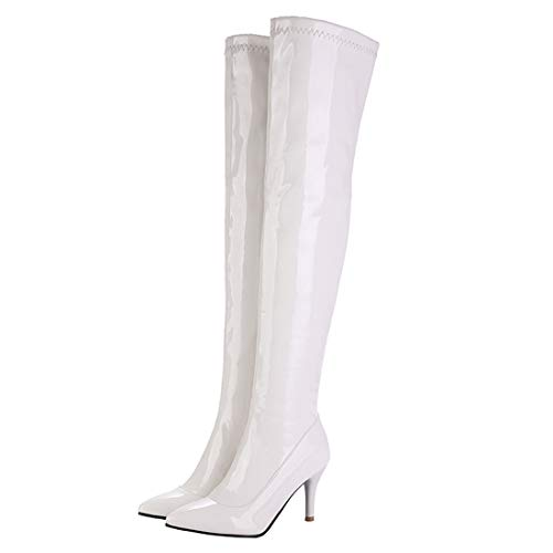 MISSUIT Damen Lack Overknee High Heels Stiefel Stiletto Langschaftstiefel Spitz Boots mit Reißverschluss 9cm Absatz Schuhe(Weiß,39)