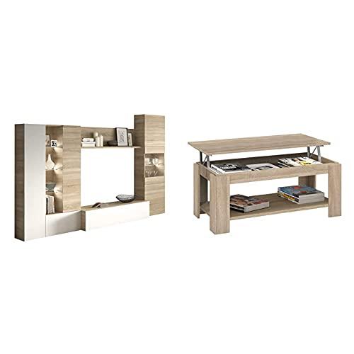 Habitdesign Mueble de Comedor con Leds, Mueble Salon, Modelo Essential + Mesa Centro con revistero, Mesa elevable, mesita Mueble Salon Comedor