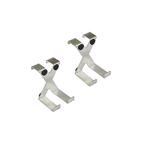 TOPBATHY Türhaken Edesltahl X Form über Tür Kleider Haken ohne Bohren Universal Handtuchhalter Türhänger Schrankhaken 2 Stück (Silber)