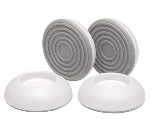 BOMI 4er Set Elefantenfüße/Wandschutz pads für Türgitter | Hochwertiges Zubehör für Schutzkinder | Ohne Bohren & zum Klemmen | Ideal für Stiegengitter | Kindersicherung in Weiß