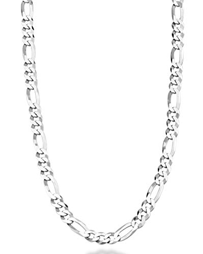 Miabella Solid 925 Sterling Silver Italian 5mm Diamond-Cut Figaro Link Chain Necklace for Women Men, 16, 18, 20, 22, 24, 26, 30 Inch Made in Italy (22)