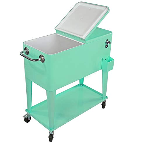 Clevr 80 Quart Qt Rolling Cooler Ice Chest Cart, Patio Beverage Cooler with Shelf, Stand, & Bottle...