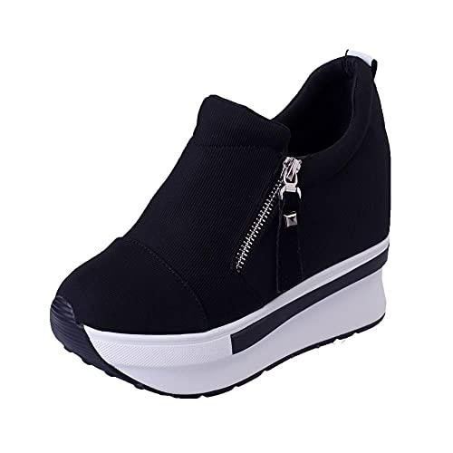 Patifia Sportschuhe Damen, Frauen Keilstiefel Plateauschuhe Slip On Ankle Boots Mode Freizeitschuhe Seitlicher Reißverschluss Plateauschuhe Soft Bottom Rocking Schuhe Sport Turnschuhe