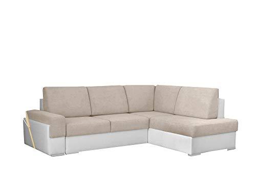 MEUBLO Canapé d'angle Convertibles Tissu et Simili Cuir Bruno II (Beige + Blanc, Canapé d'angle Droit)