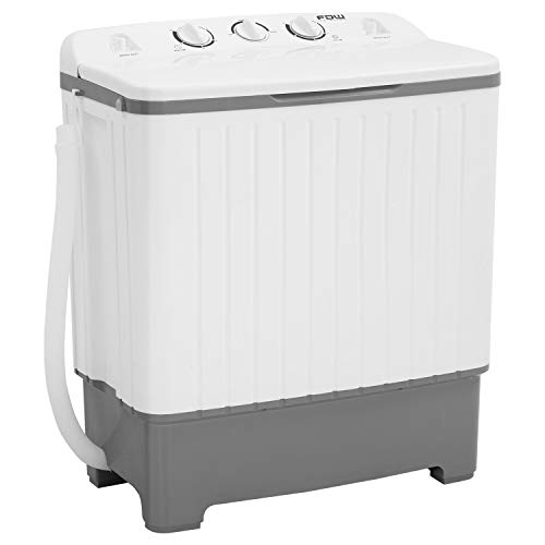 Portable Washing Machine 17 lbs Mini Compact Twin Tub Washing Machine,Wash (10lbs) and Spin Combo(7lbs), Laundry Cloths Washer Timer Control for Home,Apartments, Dorm Rooms,RV's (White & Grey)