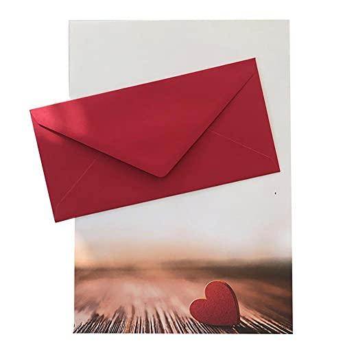 Juego de 50 piezas de papel de carta para adultos con forma de corazón con sobres, elegante, papel DIN A4 con sobres a juego, DIN largo sin ventana, como regalo para cumpleaños, bodas