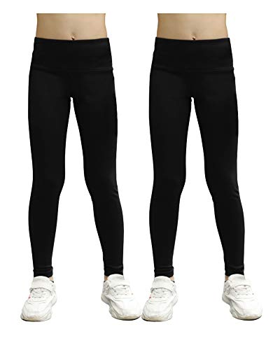 STELLE Girls Active Legging Yoga Pants for Workout Sport Running (2 Piece Black, L)