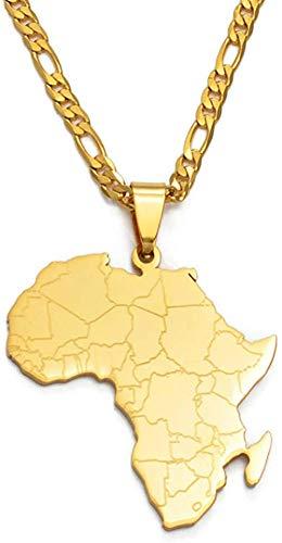 ZVBEP Collar Estilo Hip-Hop Mapa de África Collares Pendientes joyería de Color Dorado para Mujeres Hombres mapas africanos joyería Regalos