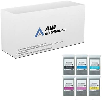 AIM Compatible Replacement for Canon W6400 Wide Format Inkjet Combo Pack (BK/C/M/Y/LC/LM) (130 ML) (BCI-1451BCMYLCLM) - Generic