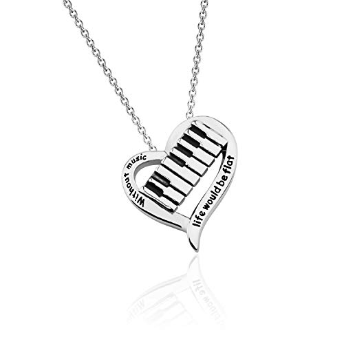 CHOORO Piano Lover Gift Music Lover Necklace Without Music Life Would Be Flat Pianist Gift Piano Recital Gift Piano Students Jewelry (Piano Necklace)
