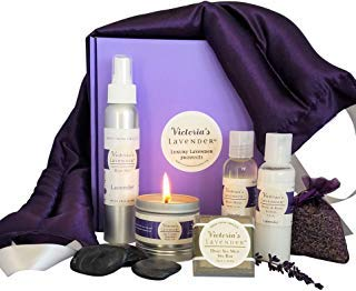 Victoria's Lavender Luxury Lavender Gift Basket for Women | Lavender Neck Wrap plus All-Natural Lavender aromatherapy gifts with essential oils | Perfect Relaxation Gift set for Stress-relief | MADE IN USA