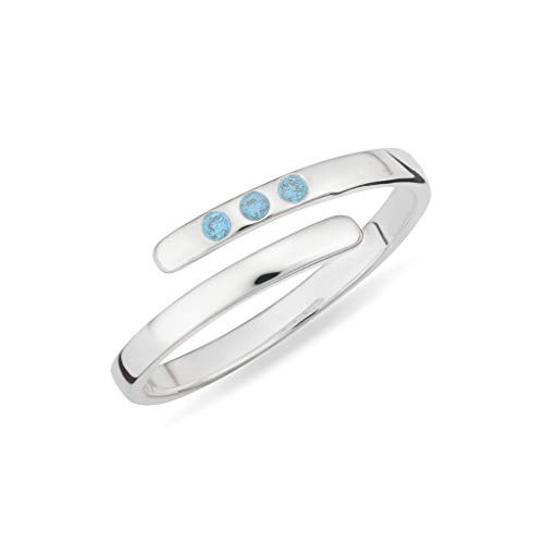Lily Charmed - Sterling Silver Adjustable December Birthstone Open Ring with Blue Topaz
