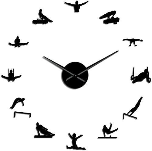 Reloj de pared de gran tamaño para hombre Gimnasia Artística Manos Largas 3D Diy Reloj de Pared Regalo Para Atleta Deportista Autoadhesivo Acrílico Reloj