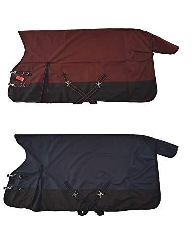netproshop wasserdichte Regendecke 600D High Neck Schwarz mit Farbe Gr. 125-155, Groesse:125, Farbe:Dunkelblau