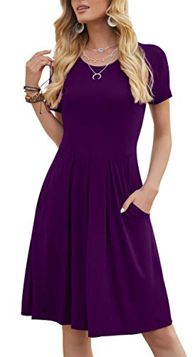 DouBCQ Women's Casual Short Sleeve Flowy Pleated Loose Dresses with Pockets (Purple, XL)