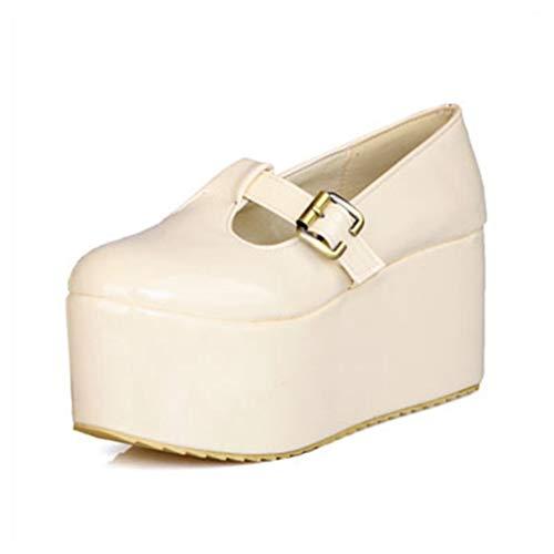 Frühlingssommer Damen High Heels Plateau Wedges Mary Jane Schuhe Rom Vintage Shallow Slip On Müßiggänger Party Thick Bottom High Heels