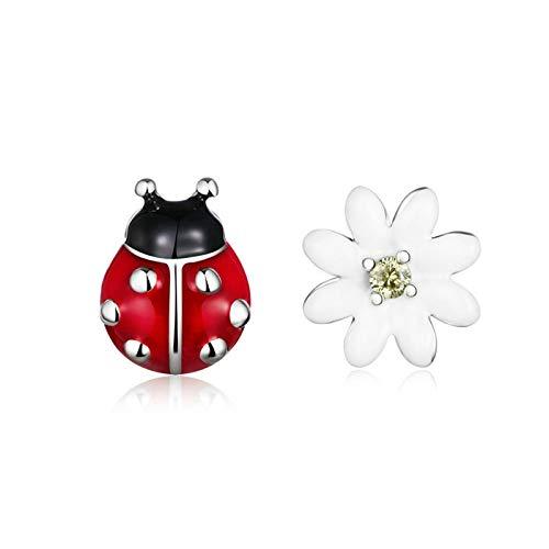 JQAM Hipoalergénico asimétrico Hipoalergénico S925 STERLINAL Silver GARDING Elf Ladybug y Daisy Stud Pendientes SCE917