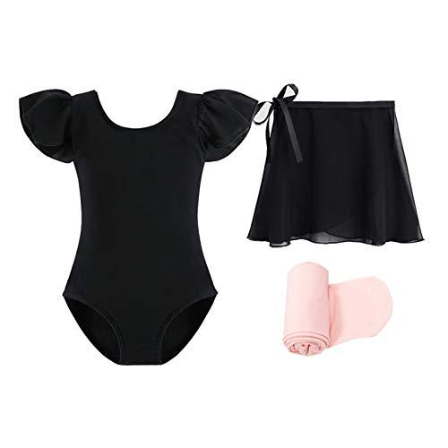 STELLE Short Sleeve Ballet Leotard Combo with Dance Skirt and Dance Tight (Black, 90)