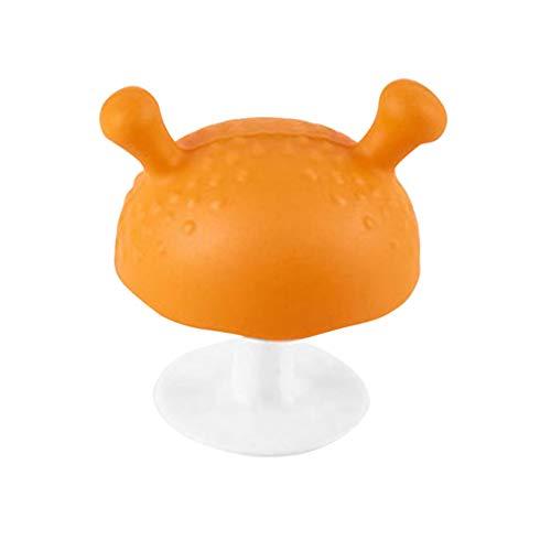 Boburyl Dentición Juguete 2pcs Mushroom Diseño Chupete de bebé Mordedor de Silicona para 3 Meses y por Encima Bebé de la dentición Juguetes Hechos Silicona para la dentición del bebé aliviar el Dolor