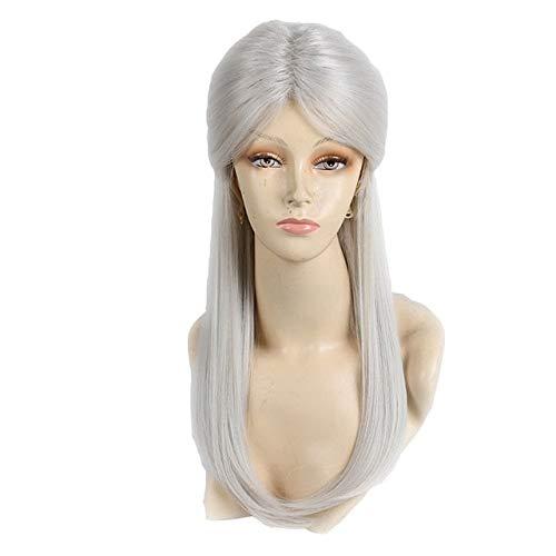 Gris plateado Cosplay Ciri de Witcher Games Pelucas de disfraz largas y rectas Peluca de pelo sinttico para mujeres Gris con moo Talla nica Geralt