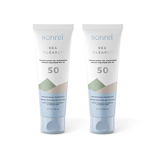 Sonrei Sea Clearly Premium SPF 50 Clear Face and Body Sunscreen Gel | UVA, UVB & Antioxidant Enriched, Reef Safe, UV Protection, Vegan, GMO & Gluten Free - 3.4 Fl Oz (2 pack)