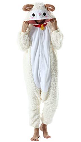 Jumpsuit Onesie Tier Karton Kigurumi Fasching Halloween Kostüm Lounge Sleepsuit Cosplay Overall Pyjama Schlafanzug Erwachsene Unisex Schaf for Höhe 140-187CM Damen Herren