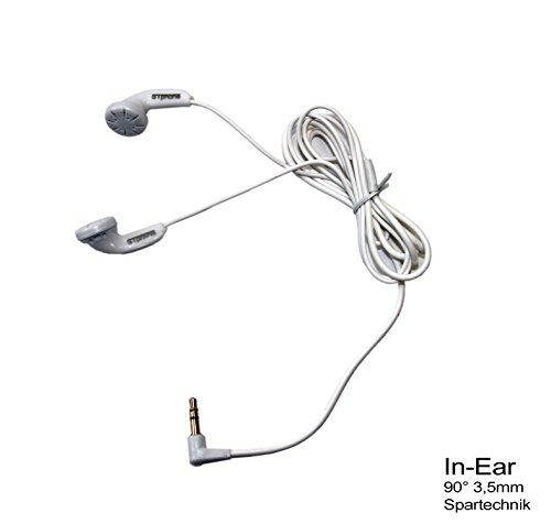 Ohrhörer für Microsoft Nokia Lumia 630 625 635 925 930 730 735 830 530 Dual Sim LTE N97 6303 Arte X-Press Music… mit 3,5mm Klinke - weiss, 90° gewinkelter Stecker - beste Hifi Stereoqualität