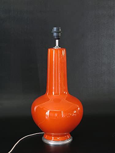 POLONIO Lampara de Ceramica Mediana de Salon de 39 cm Naranja, E27,...