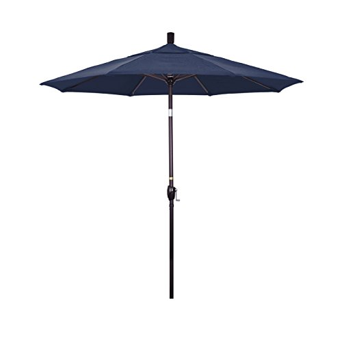 California Umbrella GSPT758117-F09 7.5' Round Aluminum Market, Crank Lift, Push Button Tilt, Bronze Pole, Olefin Navy Blue Patio Umbrella, Canvas