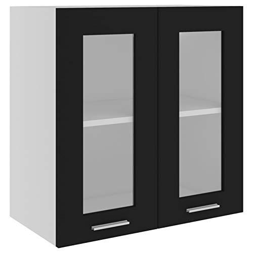 Tidyard Armario Colgante Cristal y Aglomerado Armario de Pared Armario de Cocina Negro 60x31x60 cm