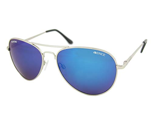 VENICE EYEWEAR OCCHIALI Gafas de sol Polarizadas PILOTO - protección 100% … (Plateado-Azul)