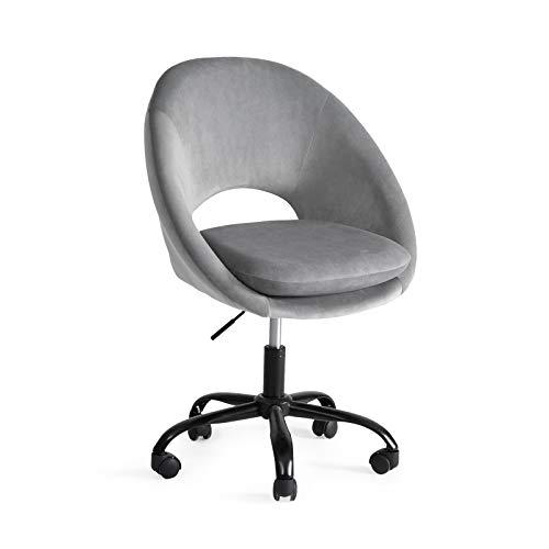 Bürostuhl mit Rollen Drehstuhl ohne Armlehne Verstellbar Hydraulische Schreibtisch Bürohocker mit Rücken für Büro Rezeptionen Lernzimmer oder Computertisch Ergonomischer Bürostuhl Grau bis 150 kg
