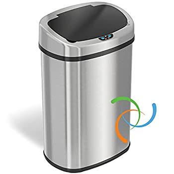 iTouchless 13 Gallon SensorCan Touchless Trash Can with Odor-Absorbing Filter Shape Oval Stainless Steel