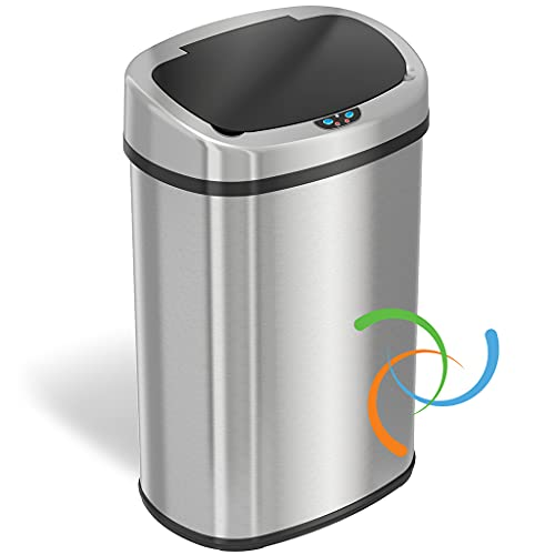 iTouchless 13 Gallon SensorCan Touchless Trash Can with Odor-Absorbing Filter, Shape, Oval Stainless Steel