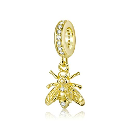 FeatherWish Sterling Silver 925 Honey Bumble Bee Charm With Gold Plating Compatible With Pandora And European Bracelet (Honey Bee)