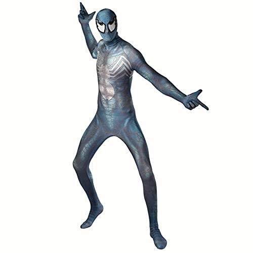 Xyh723 Niños Venom Medias Disfraces De Spiderman Cosplay Disfraz Traje Adulto Halloween Carnaval Body Niño Superhéroe Onesies Regalo De Cumpleaños,Blue-Kids/S(100~115CM)
