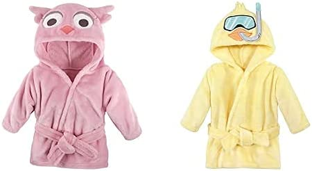 Hudson Baby Girl Plush Animal Face Bathrobe 2-Pack, Pink Owl Scuba Duck