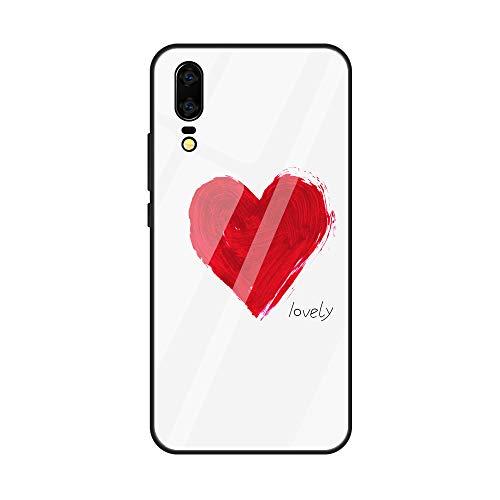 Caler Verre Trempé Arriere Protection Antichoc Coque Compatible pour Xiaomi Pocophone F1 [Motif en Verre trempé] avec Silicone Bumper de Mignon Motif Design Mince-Souple Case Etui(Amour1)