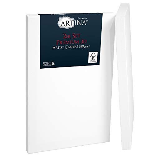 Artina 2er Set 3D Leinwand 30x40cm Bespannt auf stabilem FSC® Keilrahmen in Premium Qualität verzugsfrei & 3-Fach weiß vorgrundiert 100% Baumwolle 380 g/m²