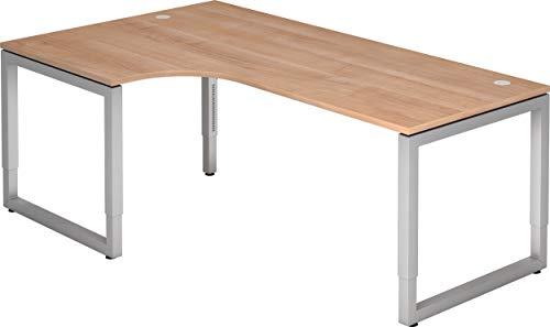 bümö® massiver Eckschreibtisch höhenverstellbar | Bürotisch extrem massiv & stabil | Büroschreibtisch Tisch für Büro in 4 Größen & 6 Dekoren (Nussbaum, 200 x 120 cm)