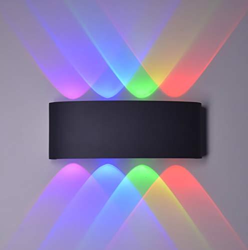Applique murale LED moderne pour intérieur/extérieur IP65 étanche 8 W, spot Up Down, aluminium, lumière colorée (lumière noire)