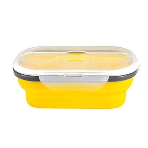 YMJJ Zusammenklappbare Vorratsbehälter für Lebensmittel mit luftdichtem Deckel und Entlüftungsventil für Lebensmittel, Mikrowelle, Gefrierschrank und Geschirrspüler,Gelb
