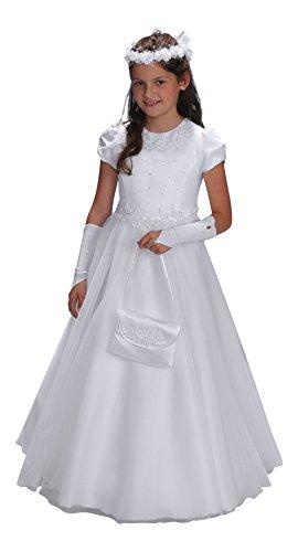 YES Claudia Kommunionkleid Kleid Kommunion Kommunionskleid, weiß, 134